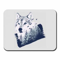 Коврик для мыши Wolf and forest