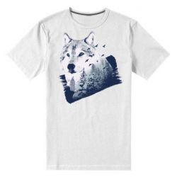 Мужская стрейчевая футболка Wolf and forest