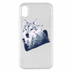 Чехол для iPhone X/Xs Wolf and forest