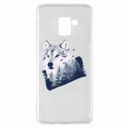 Чехол для Samsung A8+ 2018 Wolf and forest