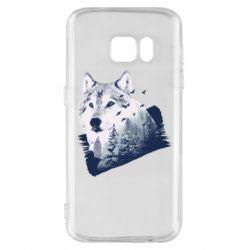 Чехол для Samsung S7 Wolf and forest