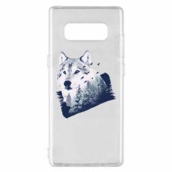 Чехол для Samsung Note 8 Wolf and forest