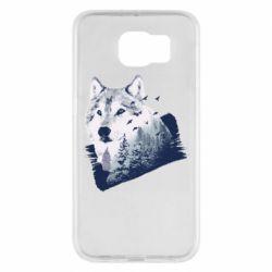 Чехол для Samsung S6 Wolf and forest