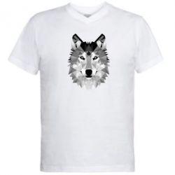 Мужская футболка  с V-образным вырезом Wolf Art - FatLine