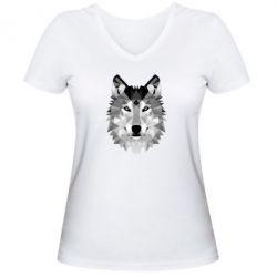 Женская футболка с V-образным вырезом Wolf Art - FatLine