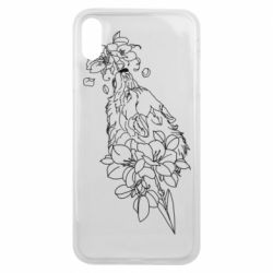 Чехол для iPhone Xs Max Wolf with flowers art