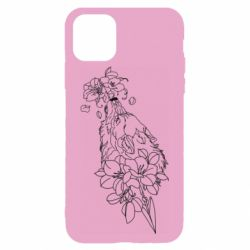 Чехол для iPhone 11 Pro Max Wolf with flowers art