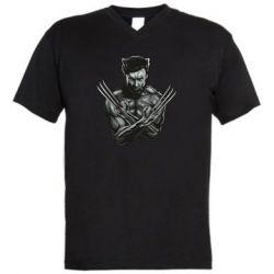 Мужская футболка  с V-образным вырезом Logan Wolverine vector