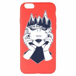 Чехол для iPhone 6 Plus/6S Plus Woman's head and mountains