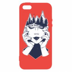 Чехол для iPhone5/5S/SE Woman's head and mountains