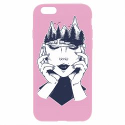 Чехол для iPhone 6/6S Woman's head and mountains