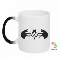 Кружка-хамелеон Wonder woman and batman logo