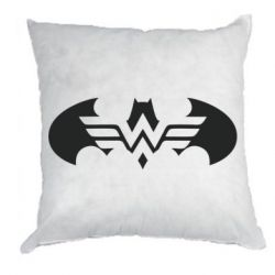 Подушка Wonder woman and batman logo