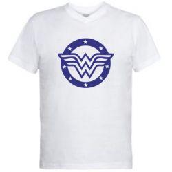 Мужская футболка  с V-образным вырезом Wonder woman logo and stars