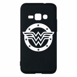 Чехол для Samsung J1 2016 Wonder woman logo and stars