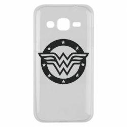 Чехол для Samsung J2 2015 Wonder woman logo and stars