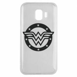 Чехол для Samsung J2 2018 Wonder woman logo and stars