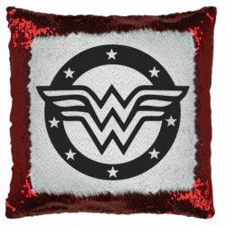 Подушка-хамелеон Wonder woman logo and stars