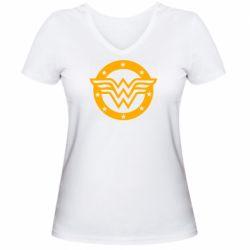 Женская футболка с V-образным вырезом Wonder woman logo and stars
