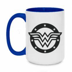 Кружка двоколірна 420ml Wonder woman logo and stars