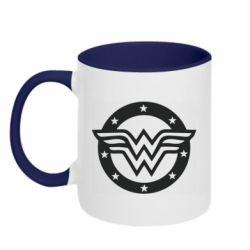 Кружка двухцветная 320ml Wonder woman logo and stars