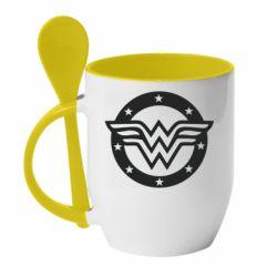 Кружка з керамічною ложкою Wonder woman logo and stars