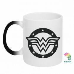 Кружка-хамелеон Wonder woman logo and stars