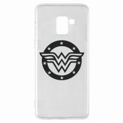 Чехол для Samsung A8+ 2018 Wonder woman logo and stars
