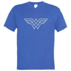 Мужская футболка  с V-образным вырезом Wonder Woman Logo - FatLine