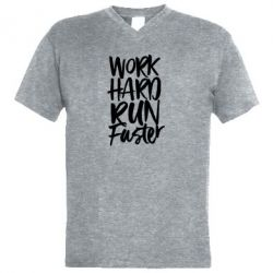 Чоловіча футболка з V-подібним вирізом Work hard run faster