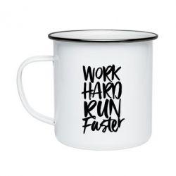 Кружка емальована Work hard run faster