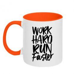 Кружка двоколірна 320ml Work hard run faster
