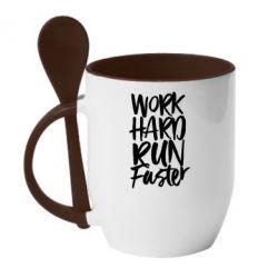 Купить Кружка с керамической ложкой Work hard run faster, FatLine