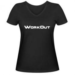 Женская футболка с V-образным вырезом Workout - FatLine