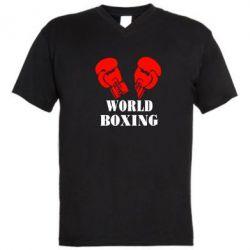 Мужская футболка  с V-образным вырезом World Boxing - FatLine