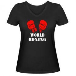 Женская футболка с V-образным вырезом World Boxing - FatLine