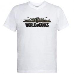 Мужская футболка  с V-образным вырезом World Of Tanks 3D Logo - FatLine