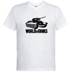 Мужская футболка  с V-образным вырезом World Of Tanks Game - FatLine