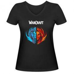 Женская футболка с V-образным вырезом World of warcraft battle for azeroth