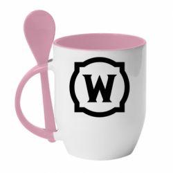 Кружка з керамічною ложкою World of warcraft icon