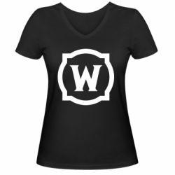 Жіноча футболка з V-подібним вирізом World of warcraft icon