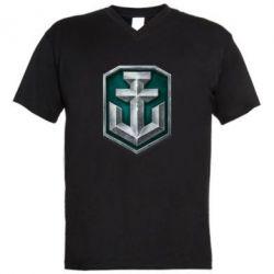 Мужская футболка  с V-образным вырезом World of Warships Main Logo