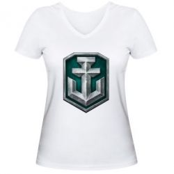 Женская футболка с V-образным вырезом World of Waships Main Logo