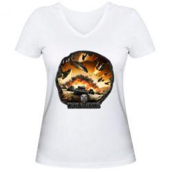 Женская футболка с V-образным вырезом WoT Art