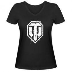 Женская футболка с V-образным вырезом WOT Logo - FatLine