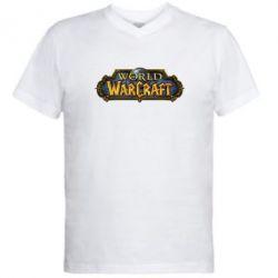 Мужская футболка  с V-образным вырезом Wow Logo - FatLine