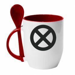 Кружка з керамічною ложкою X-man logo