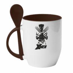 Кружка з керамічною ложкою X men: Logan