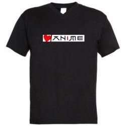 Мужская футболка  с V-образным вырезом Я люблю Аниме - FatLine