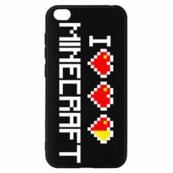 Чехол для Xiaomi Redmi Go Я люблю Minecraft
